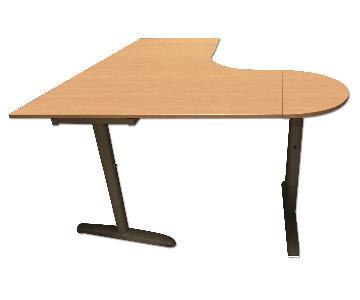 Ikea L-Shaped Desk w/ Steel Legs & Keyboard Hang/Desk Pad