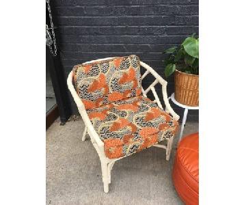 Rattan Arm Chair w/ 1960's Graphic Print Cushions