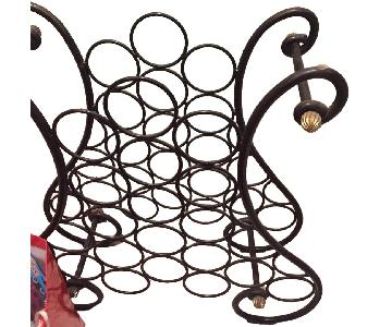 Metal Wine Rack w/ Glass Top