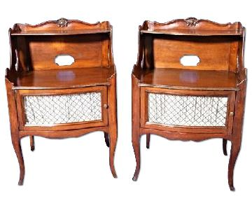 Vintage French Walnut Commodes/Tiered End Tables
