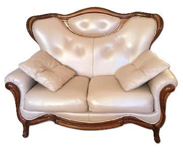 Italian Leather Victorian Style Sofa + Loveseat + Chair