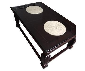 Wood Coffee Table w/ Custom Glass Top