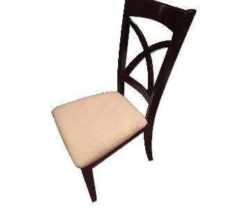 Fortunoff Espresso Wood Dining Chairs w/ White Seats