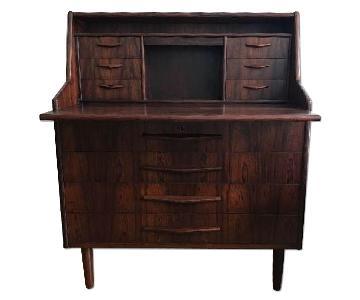 Danish Mid Century Modern Rosewood Secretary Desk