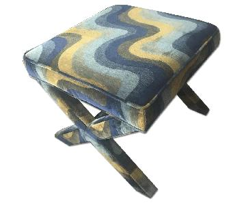 Jonathan Adler X-Bench in Mermaid Sky Velvet