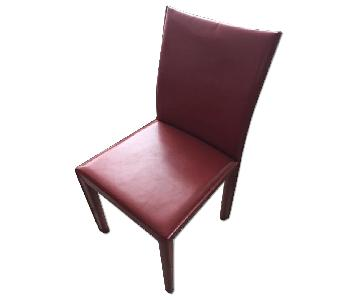 Crate & Barrel Red Leather Folio Dining Chair