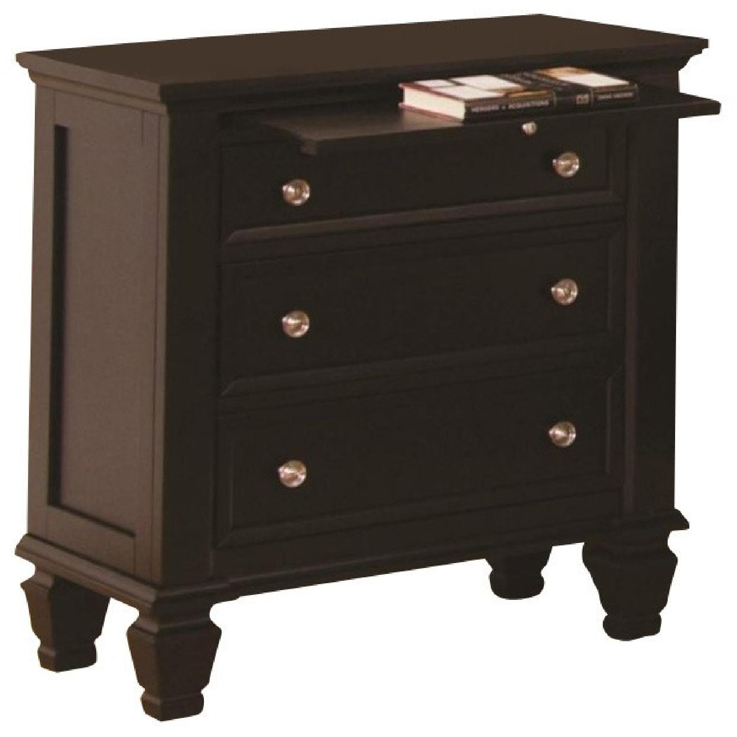 3-Drawer Nightstand w/ Pull-Out Tray in Cappuccino Finish
