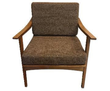Mid Century Danish Modern Wooden Armchair w/ Original Vintage Fabric Upholstered Cushions