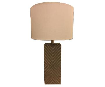 Bassett Silver Leaf Table Lamps w/ Linen Shades