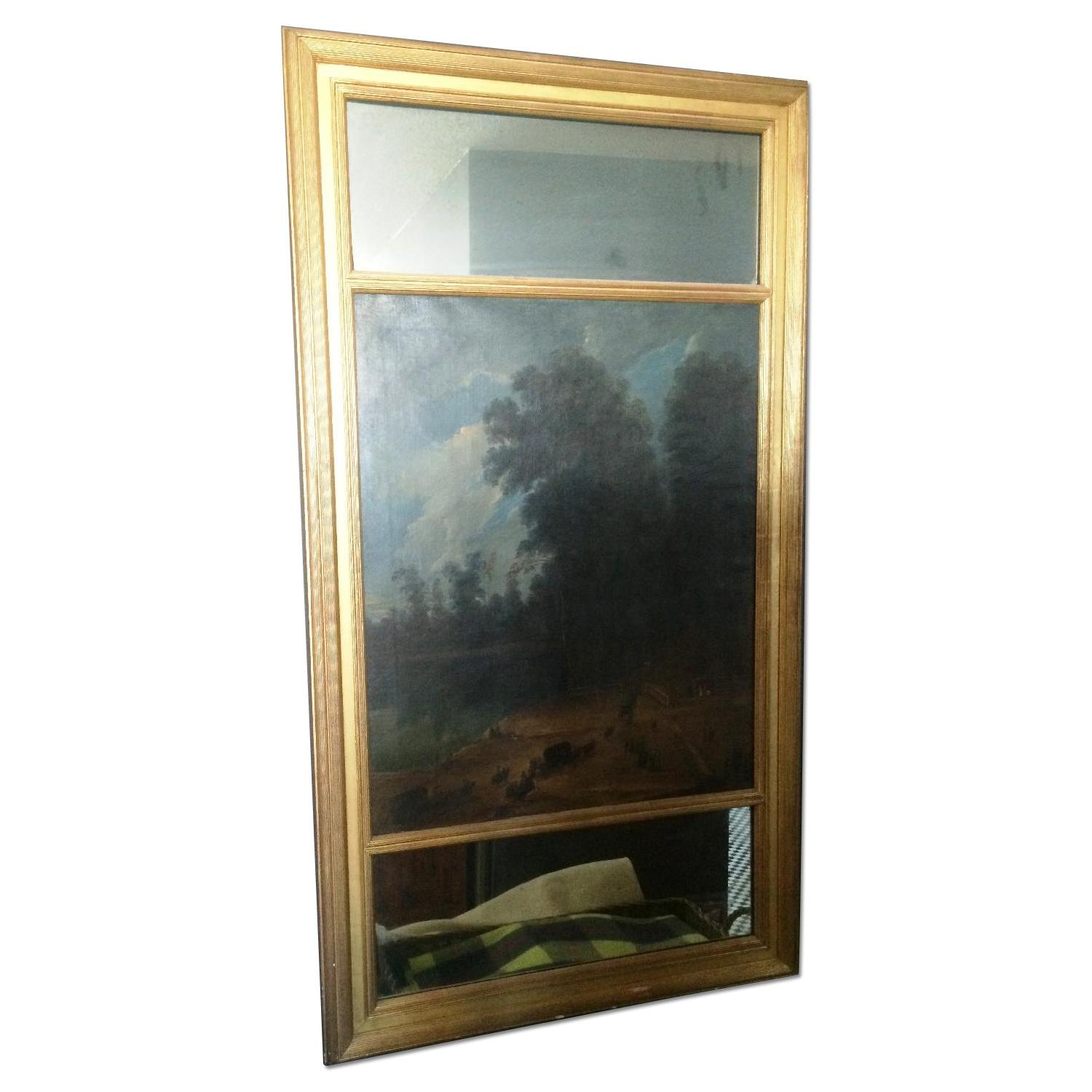 Antique Trumeau 19th Century Gold Mirror with Landscape