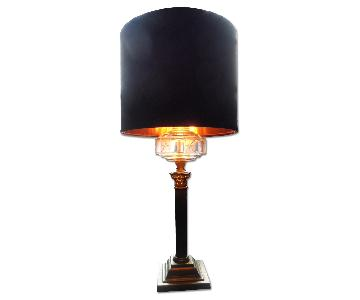 Vintage 1951 Crown Column Lamp with Star Glass & Satin Shade