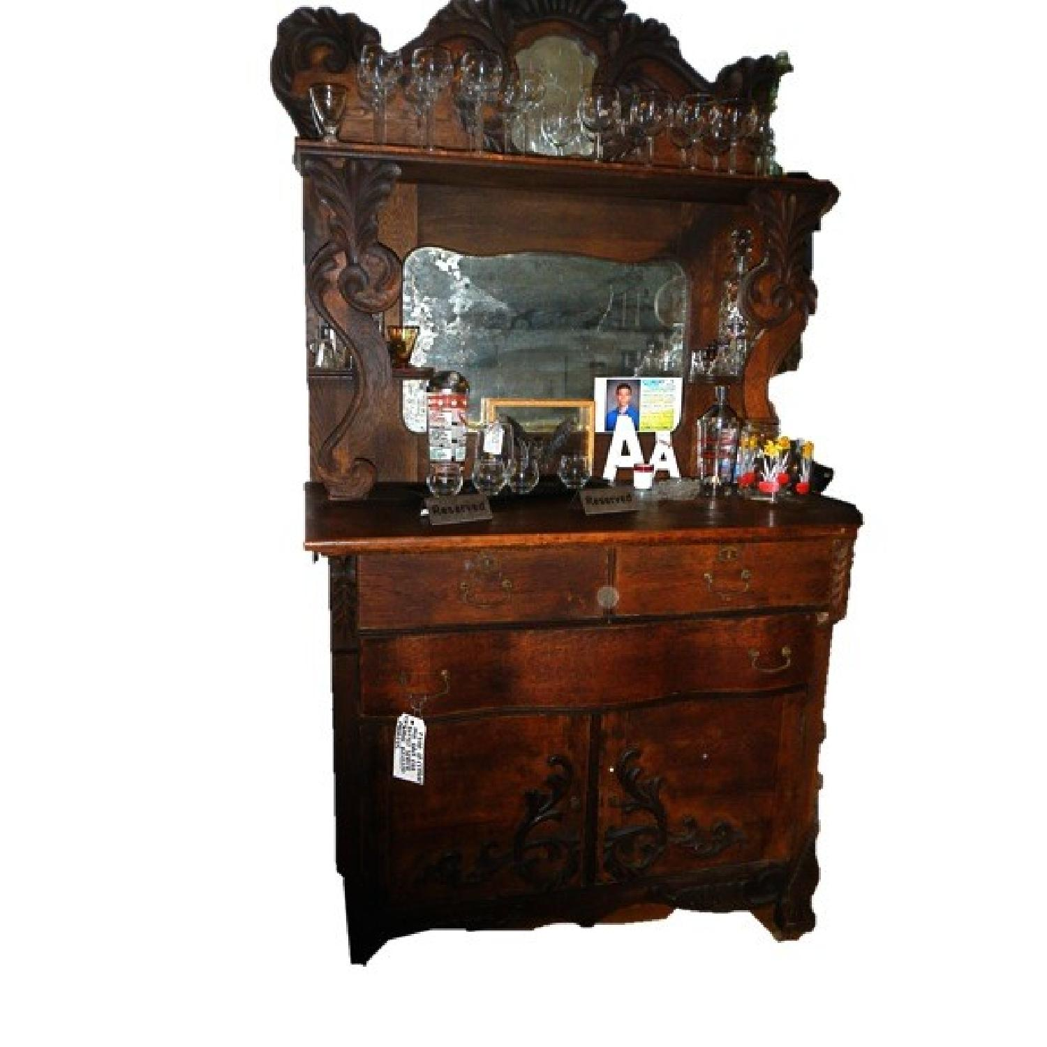 Antique Wooden Sideboards ~ Antique wood double mirror sideboard buffet aptdeco