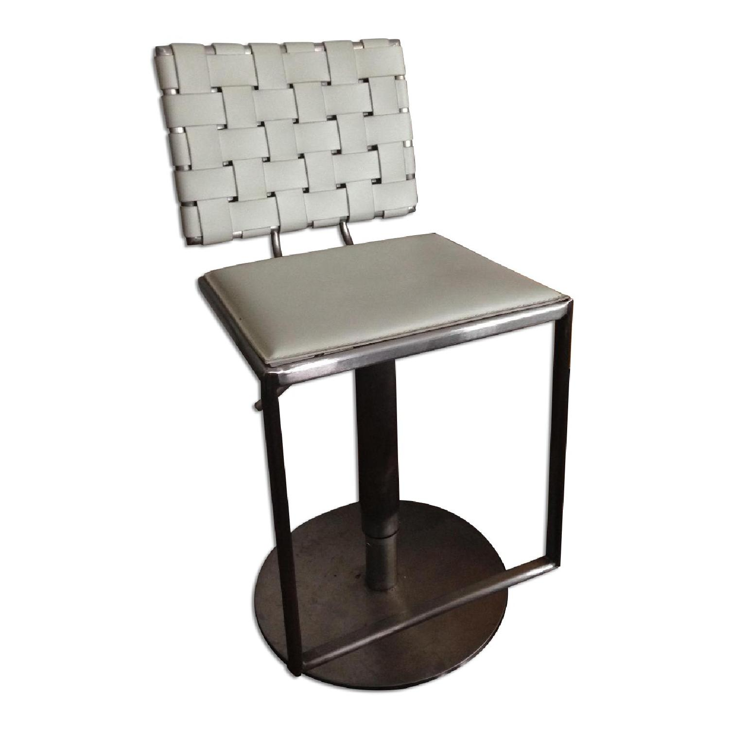 Modani White Woven Leather Adjustable Barstools/Chairs