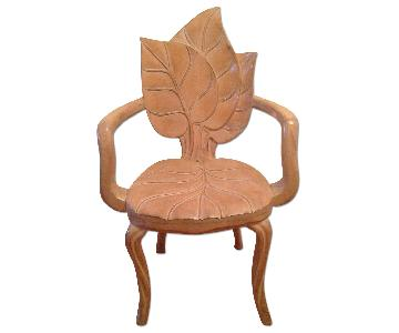 Art Nouveau Style Sculptural Leaf Motif Armchair