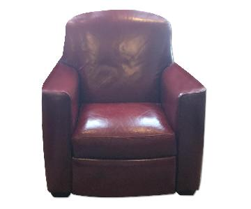 Crate & Barrel Red Leather Recliner