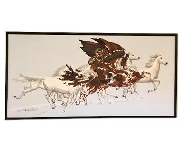 Bev Doolittle's Style Acrylic Painting Eagle's Flight