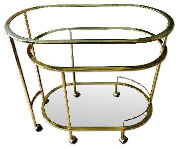 Vintage Brass Triple Tiered Swivel Bar Cart