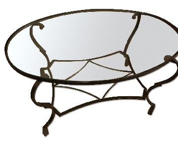 Pier 1 Glass/Hand Painted Iron Oval Coffee Table