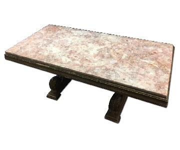 Antique Gold Panted Walnut Base Empire Style Coffee Table w/