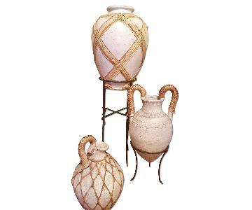 Ceramic Pot/Vase w/ Woven Rattan Wrap