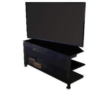 Black Glass Black Metal TV Stand