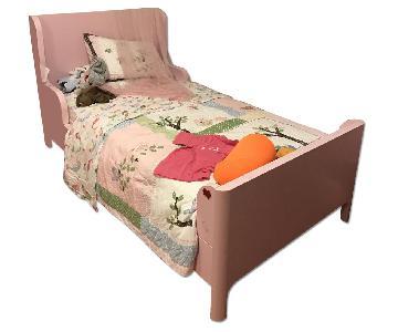 Pink Twin Size Bed Frame + 2 Drawer Dresser