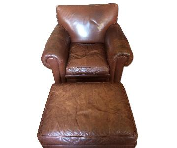 Brown Leather Armchair & Ottoman