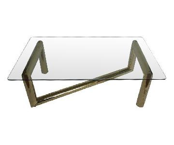 Karl Springer-style Brass & Glass Coffee Table