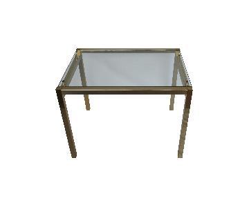 Milo Baughman Style Brass & Glass Cocktail Table