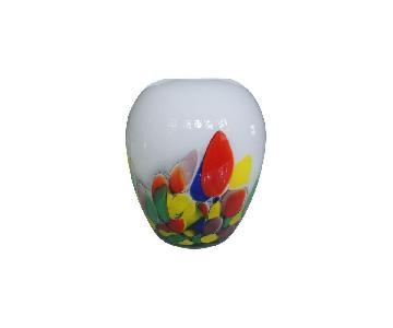 Vintage White & Confetti Pattern Murano Glass Vase