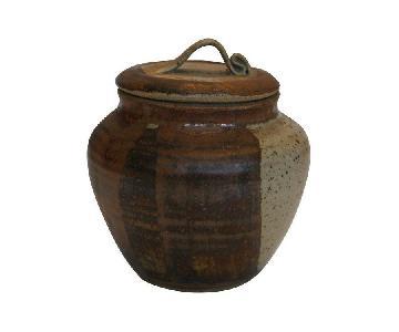 Mid-Century 2 Tone Art Pottery Lidded Jar