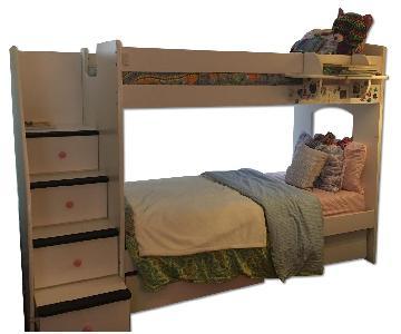 Berg Furniture White Bunk Bed w/ Stairway