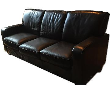 ABC Carpet and Home Dark Brown Leather Sofa