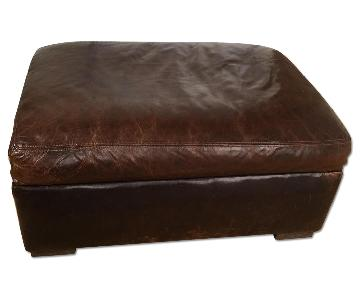 Restoration Hardware Leather Ottoman