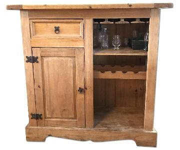 Solid Wood Bar w/ Wrought Iron Foot Rest/Cabinet & Drawer