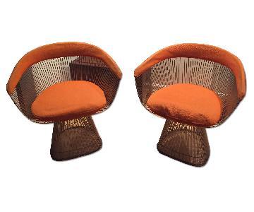 Warren Platner Knoll Mid Century Modern Nickel Wire Chairs