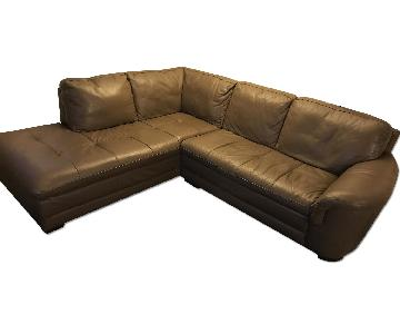 Raymour & Flanigan 2-Piece Leather Sectional Sofa