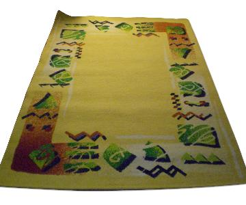 Abstract Area Rug in Pale Yellow w/ Colorful Borders