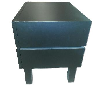 West Elm 2 Drawer Black Nightstand
