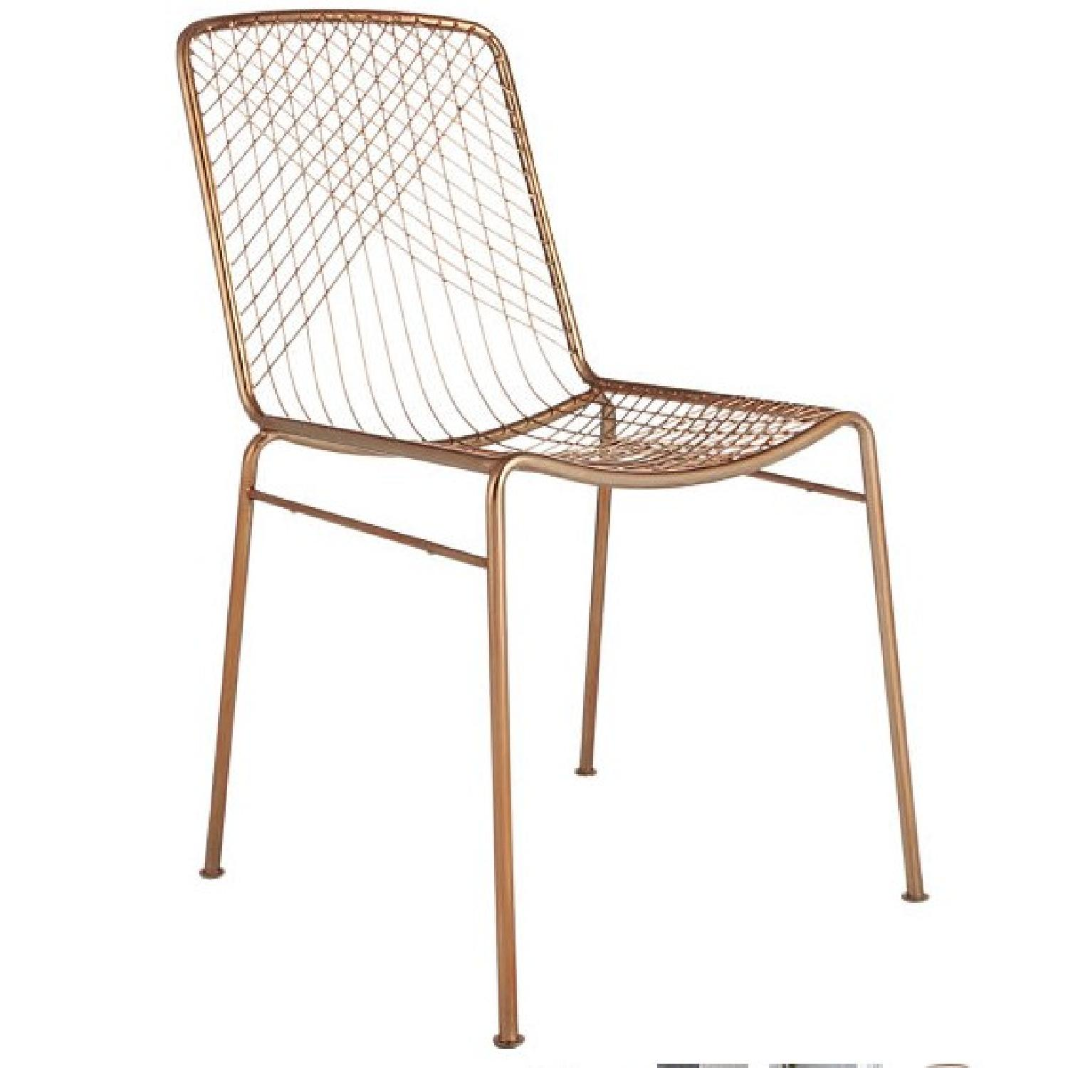 CB2 Mid Century Modern Wire Beta Rose Gold Chair AptDeco