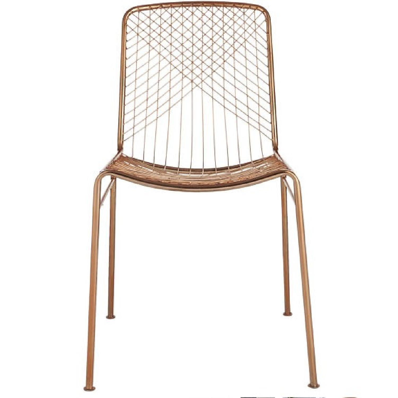 CB2 Mid Century Modern Wire Beta Rose Gold Chair