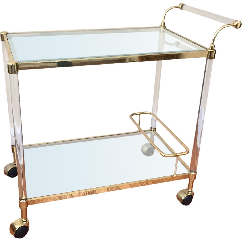 Stylish Modern Brass Amp Lucite Bar Cart