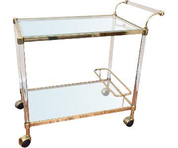 Stylish Modern Brass & Lucite Bar Cart