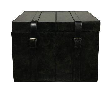 Designe Gallerie Leather Black Trunk Box
