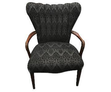 1940's Re-Upholstered Brocade Vintage Armchair