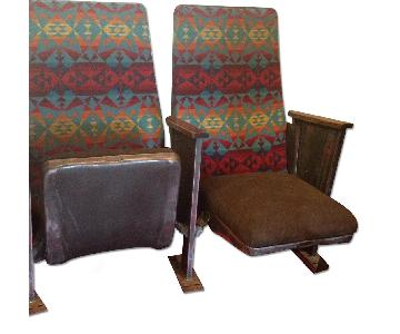 Custom Vintage Theatre Seats Upholstered in Pendleton Wool & Leather