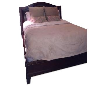 Bloomingdales Queen Bed Frame w/ Hardwood & Leather Headboard
