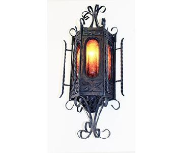 Vintage Large Gothic Hand Carved Wood/Glass & Wrought Iron Sconce