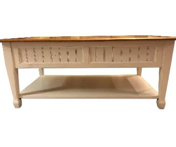 Wood Topped Coffee Table w/ 2 Storage Drawers