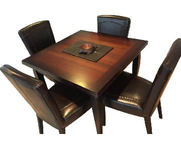 Arhaus Cortana Extendable Table w/ 4 Colette Leather Chairs